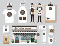 Vector restaurant cafe set shop front design flyer menu packa package t shirt cap uniform and display layout of corporate Royalty Free Stock Images