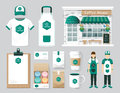 Vector restaurant cafe set shop front design flyer menu packa package t shirt cap uniform and display layout of corporate Stock Image
