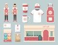 Vector restaurant cafe set shop front design flyer menu package t shirt cap uniform and display layout of corporate Stock Photos
