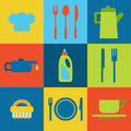 Vector restaurant icons and kitchen Royalty Free Stock Photo