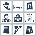 Vector restaurant icons set isolated Royalty Free Stock Photo