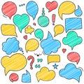 Vector retro colored speech bubbles. Empty bladder