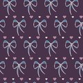 Vector Retro Cute Lace Bows with Hearts seamless pattern background.