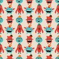 Vector retro hipster monsters seamless pattern cute background Royalty Free Stock Photography
