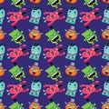 Vector retro hipster monsters seamless pattern cute background Royalty Free Stock Images