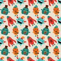 Vector retro hipster monsters seamless pattern cute background Royalty Free Stock Photos