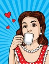 Vector retro  illustration of pop art comic style of a pretty woman drinks a coffee. Royalty Free Stock Photo