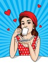 Vector retro illustration of pop art comic style of a pretty woman in red dress and hat drinks a coffee Royalty Free Stock Photo