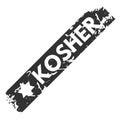 Vector retro kosher teal vintage stamp for quality mark.