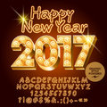 Vector retro light up Happy New Year 2017 greeting card