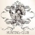Vector retro logotype design for hunter club