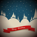 Vector retro night snowy landscape Stock Images