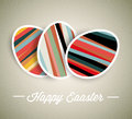 Vector retro paper easter egg card with striped eggs Stock Photography