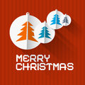 Vector retro red background with christmas balls and trees made from paper Royalty Free Stock Photo
