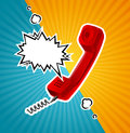 Vector Retro Red Phone Tube in Comic Style With Bubble for Text. Royalty Free Stock Photo