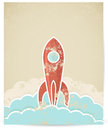 Vector retro rocket with grunge texture Stock Photos