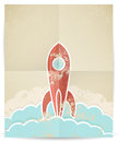 Vector retro rocket with grunge texture illustration of eps Royalty Free Stock Images