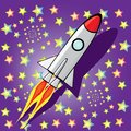Vector retro rocket ship space in the sky. Royalty Free Stock Photo