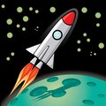 Vector retro rocket ship space in the sky illustration of a Royalty Free Stock Photos