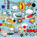 Vector Retro Seamless Pattern with Comic Speech Bubbles, Labels, Logos and Comic Book Words