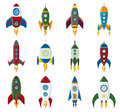 Vector retro space rocket ship icon set in a flat style. Design elements for background with project start up and