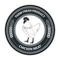 Vector retro styled badge with chicken symbol. Organic food badge