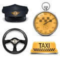Vector retro taxi icons isolated on white background Royalty Free Stock Photos