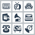 Vector retro technology icons set isolated Stock Image