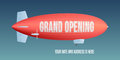 Vector retro zeppelin with grand opening advertising on it