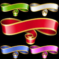 Vector ribbon frames set  on black background Royalty Free Stock Photo