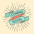 Vector ribbon with vintage light rays and Coming Soon text Royalty Free Stock Photo