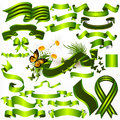 Vector ribbons set green color your design Royalty Free Stock Photos