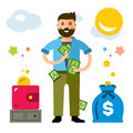 Vector Rich Man. Flat style colorful Cartoon illustration.