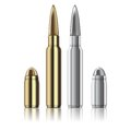 Vector rifle and pistol bullets isolated on white excellent Royalty Free Stock Photography