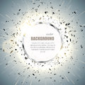 Vector ring background. Metal chrome shine round frame with spark light effect and big explosion. Royalty Free Stock Photo