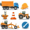 Vector road construction icons on white background Royalty Free Stock Photography