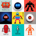 Vector robot collection set of various robots and android symbols illustration Stock Images
