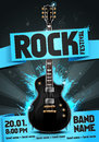 vector illustration blue rock festival party flyer design template with guitar, origami banner and cool splash effects