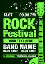Vector rock festival flyer design template for party
