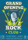 Vector rock music club poster with music guitars and microphone Royalty Free Stock Photo