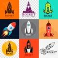 Vector rocket collection Fotos de archivo libres de regalías