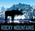 Vector rocky mountains lake with moose Royalty Free Stock Photo