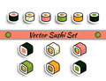 Vector rolls sushi set isolated