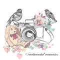 Vector romantic card with old camera birds flowers and toy rabbi Royalty Free Stock Photo