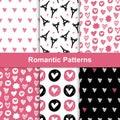 Vector romantic seamless pattern set