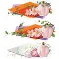 Vector romantic vignette with flowers and a perfume stock illustration bottle of Stock Image