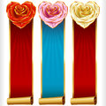 Vector Rose Hearts and Swirl Ribbons vertical Banners set