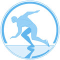 Vector round emblem running skater Royalty Free Stock Photo