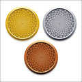Vector round empty medals of gold silver bronze