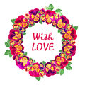 Vector round floral frame with quote  love. Design for wedding invitation, flower shop and beauty salons. Bright pansies Royalty Free Stock Photo